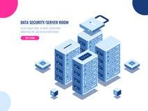 Gabinetto della stanza del server, centro dati ed icona isometrica della base di dati, azienda agricola dello scaffale del server illustrazione vettoriale