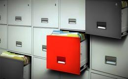 Gabinetto di archivio con gli archivi ed i cassetti aperti Immagine Stock Libera da Diritti