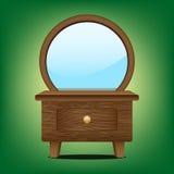 Gabinetto di legno dello specchio Fotografie Stock Libere da Diritti