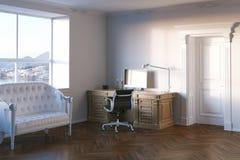 Gabinetto elegante dell'ufficio con la finestra di vista del mare 3d rendono Fotografia Stock