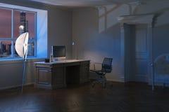 Gabinetto moderno di lusso dell'ufficio nella notte 3d rendono Immagine Stock Libera da Diritti