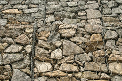 Gabion baskets filled with stones Royalty Free Stock Images