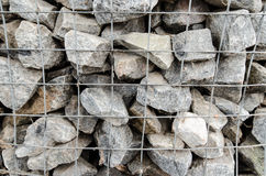 Gabion boxes protecting a river from erosion Royalty Free Stock Images