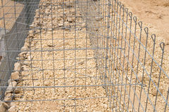Gabion cage under construction Royalty Free Stock Photo