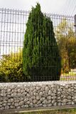 Gabion. Home and garden surrounded by a low wall made of gabions Royalty Free Stock Image