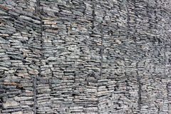 Gabion-protection against taluses, background. Gabion wall - protection of the mountain road from rocky talus,  background Royalty Free Stock Images