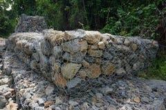 Gabion vägg Arkivbild