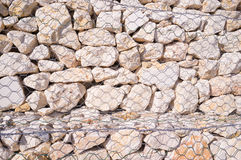 Gabion wall background Royalty Free Stock Images