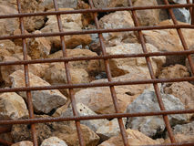 Gabion wall. Close-up detail of a gabion wall royalty free stock photos
