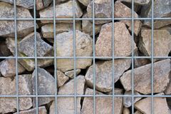 Gabion wall filled with broken limestone Royalty Free Stock Photography