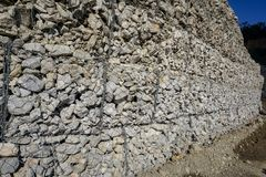 Gabion or wire box which filled with rocks royalty free stock images