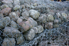 Gabions - coastal protection Stock Photography