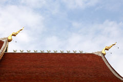 Gable apex on blue sky Stock Photo