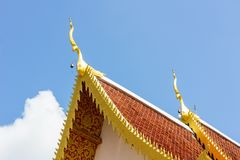 Gable apex on the roof of royal temple in Chiang Rai, thailand. Royalty Free Stock Image