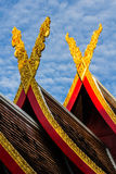 Gable apex with sky in thai temple, lanna style Royalty Free Stock Image