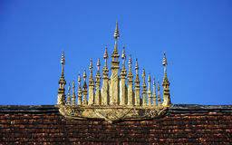 Gable apex of temple. Gable apex on the roof of temple in UNESCO world heritage town, Laos stock photo