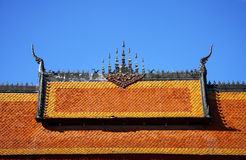 Gable apex of temple. Gable apex on the roof of temple in UNESCO world heritage town, Laos royalty free stock images