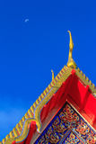 Gable apex of thai temple and moon Royalty Free Stock Photography