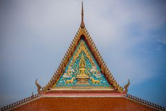 Gable art of Thai temple in Wat Bang Pla - Samut Sakhon, Thailand. Gable art of Thai temple in Wat Bang Pla in Samut Sakhon, Thailand royalty free stock photo