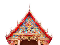Gable. The colorful gable with statues of God Vishnu and Garuda is at the top of the chapel in Wat Pho Chae , Bangkok , Thailand Stock Photos