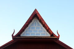 Gable end of ancient thai style pavilion. Gable garden, green, historical, home, house, landscape life, ancient Stock Image
