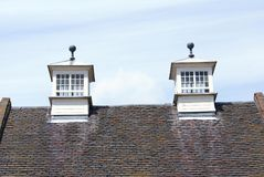 Gable end roof with skylights. Stock Image