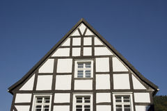 Gable of a half-timbered house in black and white. In a traditional german village Royalty Free Stock Image