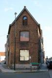 The gable of a house. Built of bricks stock photos