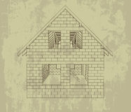 Gable house construction line grunge drawing vector Royalty Free Stock Image