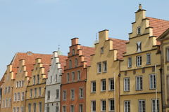 Gable houses. In Osnabrück in summer Stock Photo