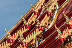 Gable naga  end  of  Thai temple roof , Chanthaburi. Royalty Free Stock Image