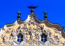 Gable ornament rococo facade in Wuerzburg, Bavaria, Germany Stock Photo