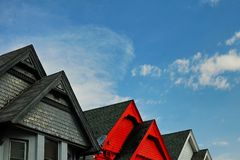 Gable peaks of roofs of some older houses in Denver Colorado. Resembling, at least in theory, the colorful peaks of the Rocky Mountains to the east royalty free stock photography