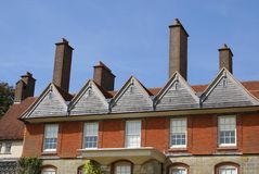 Gable roof with chimneys Stock Photos
