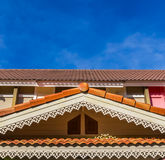 Gable roof of a house. In front of the blue sky Royalty Free Stock Photography