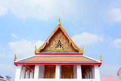 Gable roof on Thai temple with blue sky , Thailand Stock Photos