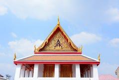 Gable roof on Thai temple with blue sky , Thailand Stock Photos