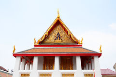 Gable roof on Thai temple with blue sky , Thailand Royalty Free Stock Images