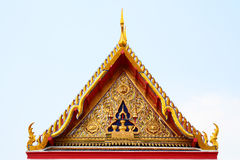 Gable roof on Thai temple with blue sky , Thailand Stock Images