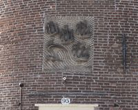 Gable Stone above doorway to Schreierstoren, Amsterdam, The Netherlands. Pictured is a Gable Stone above the doorway to Schreierstoren, Amsterdam, The stock images