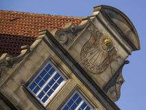 Gable with sun clock in Hanseatic city Bremen Stock Photos