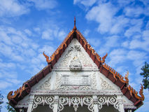 Gable temple. Cracking gable temple in old temple and blue sky Royalty Free Stock Image