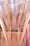 Gable View of Ongoing House Attic Heat insulation Project Stock Photos