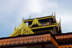 The gable of wooden pavilion in Buddhist temple Stock Photos