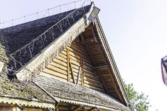 A gable wooden roof. Wooden decoration. stock photo