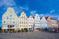 Gabled houses at Moritz Square, Augsburg Royalty Free Stock Photo