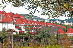 Gabled red roofs Stock Photos