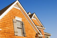 Gables of a modern home. The roof gables of a modern home close up stock image