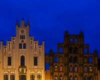 Gables of two historical buildings in Wismar at blue hour Royalty Free Stock Photos