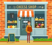 Gablota wystawowa ser nabywca z pakunkiem i sklep ilustracja wektor